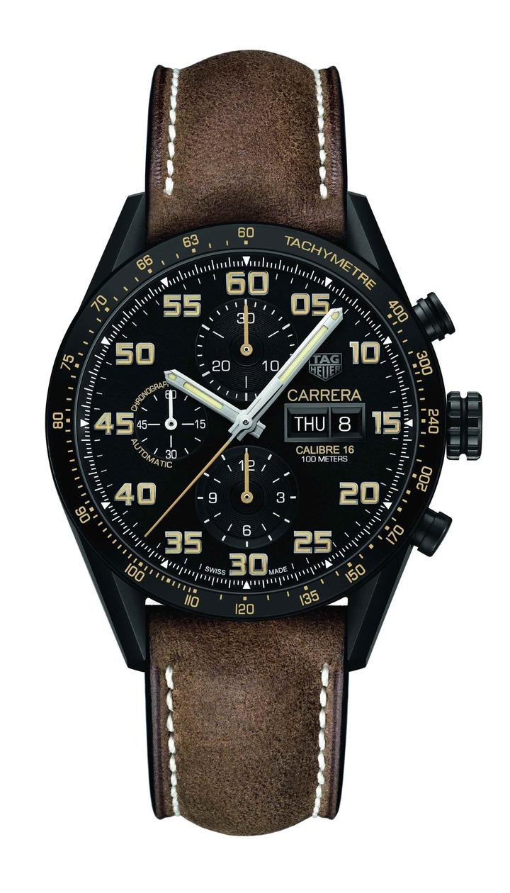 泰格豪雅也將在日內瓦高級鐘表展推出Carrera Calibre 16星期日曆黑色鈦金屬計時腕表,17萬2,200元。圖/TAG Heuer提供