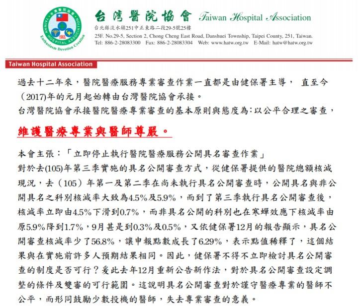 台灣醫院協會發出聲明表示,主張停止健保公開具名審查。圖/截取自台灣醫院協會網站