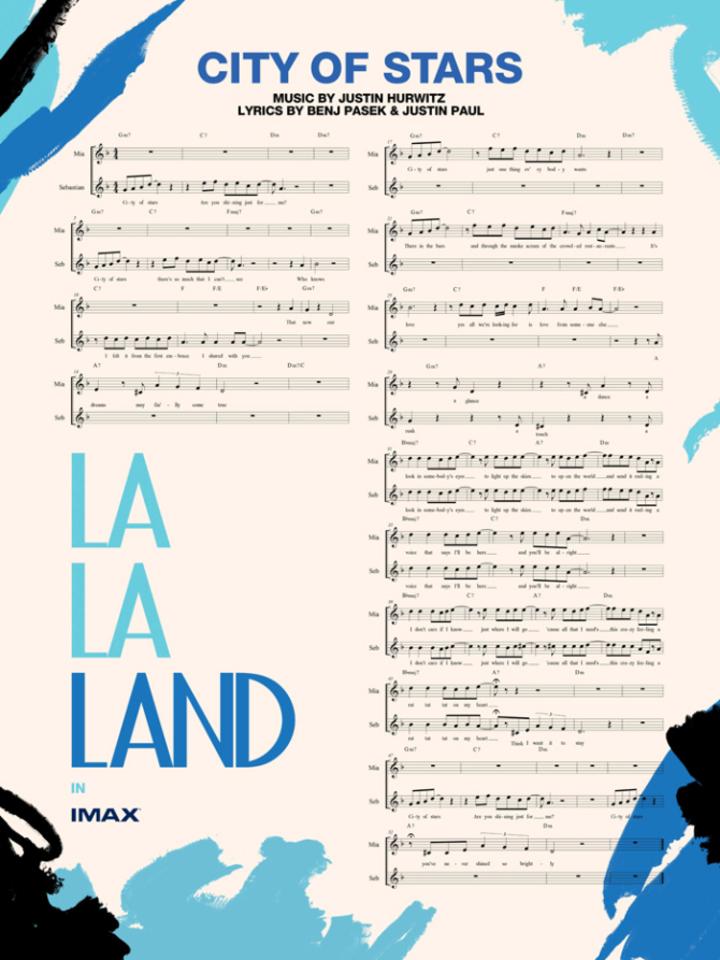「樂來越愛你」最受歡迎插曲的樂譜也成為宣材之一。圖/摘自Variety