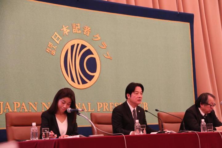 台南市長賴清德今天前往日本東京記者俱樂部演講,表達對日本在去年台南地震時給予協助的感謝。圖/取自賴清德臉書