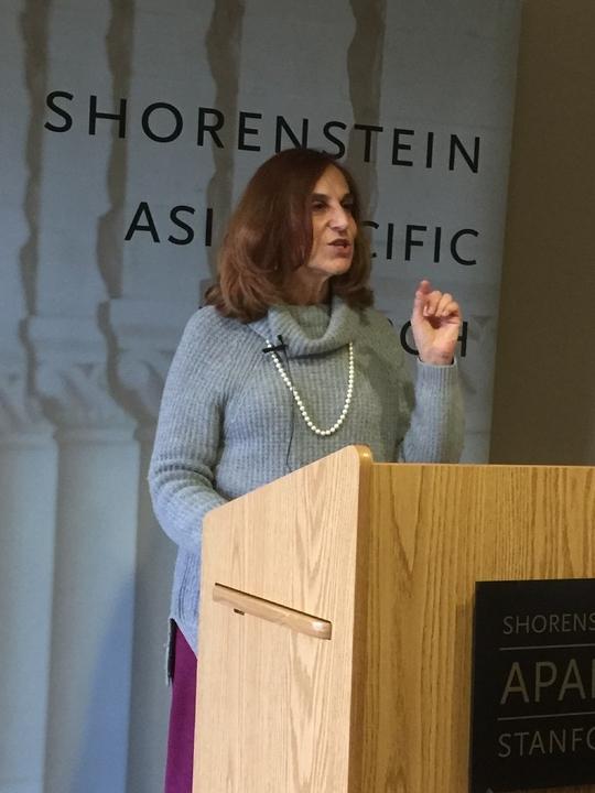 葛來儀在史丹福大學談中美台關係。(記者王金城/攝影)