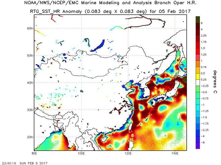 鄭明典引用「NCEP SST Analysis」的24小時內的海溫距平分析圖,紅棕色系是比氣候平均高溫,藍色系是比氣候平均低溫。圖/翻攝自鄭明典臉書