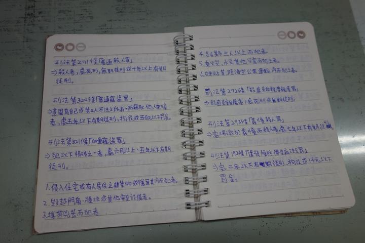 警方發現柯男筆記本寫滿刑法法條,柯男家中都是報考警專相關書籍。記者劉星君/攝影