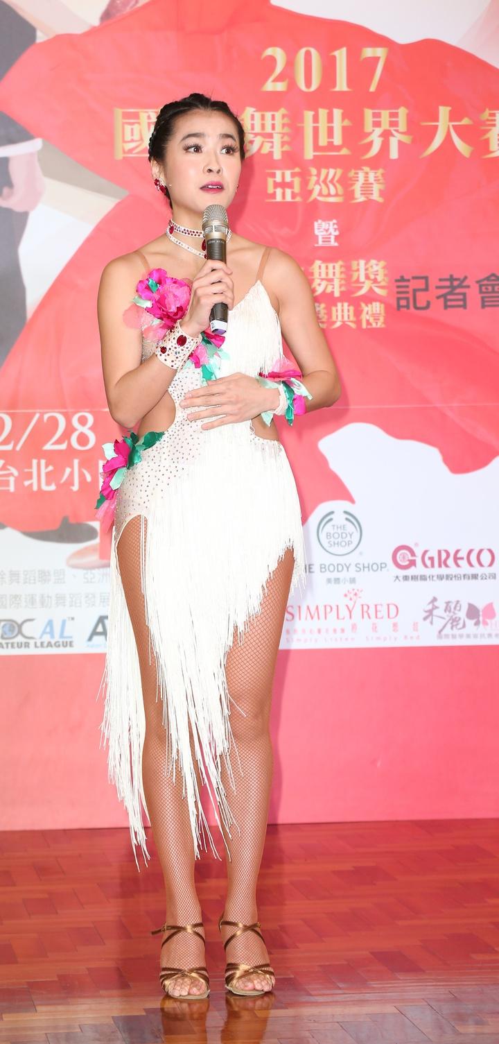 小嫻爆出不孕之後首度出席公開活動,擔任2017國標舞世界大賽亞巡賽親善大使。記者陳立凱/攝影