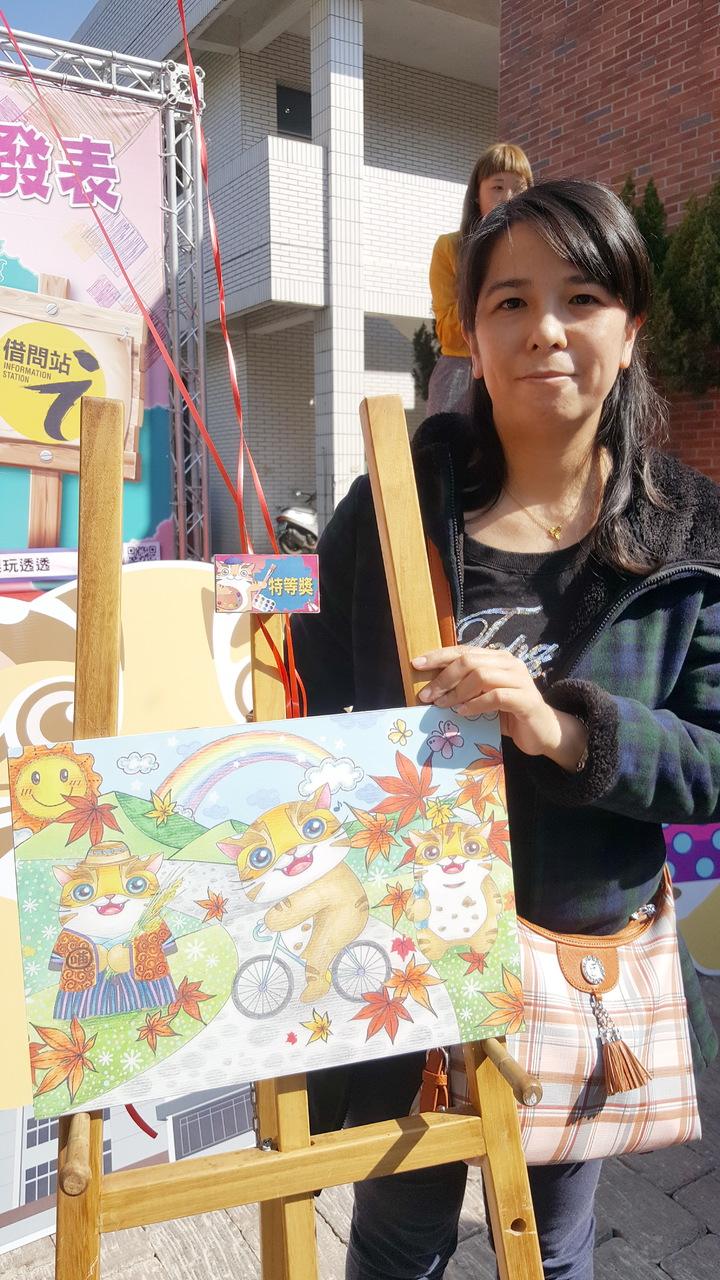 苗栗縣吉祥物「貓裏喵」創意彩繪競賽,吸引各地民眾參與,特等獎由新北市的林嫈姍獲得。記者胡蓬生/攝影