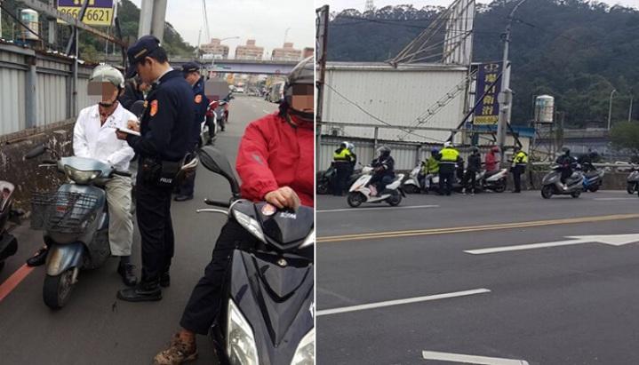10多部機車等著被警方開單,蔚為奇觀。記者江孟謙/翻攝
