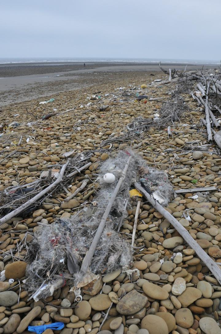 原崎頂海水浴場沙灘堆積大量垃圾、漁網、雜木,地方盼清理,別讓外人看笑話。記者張裕珍/攝影