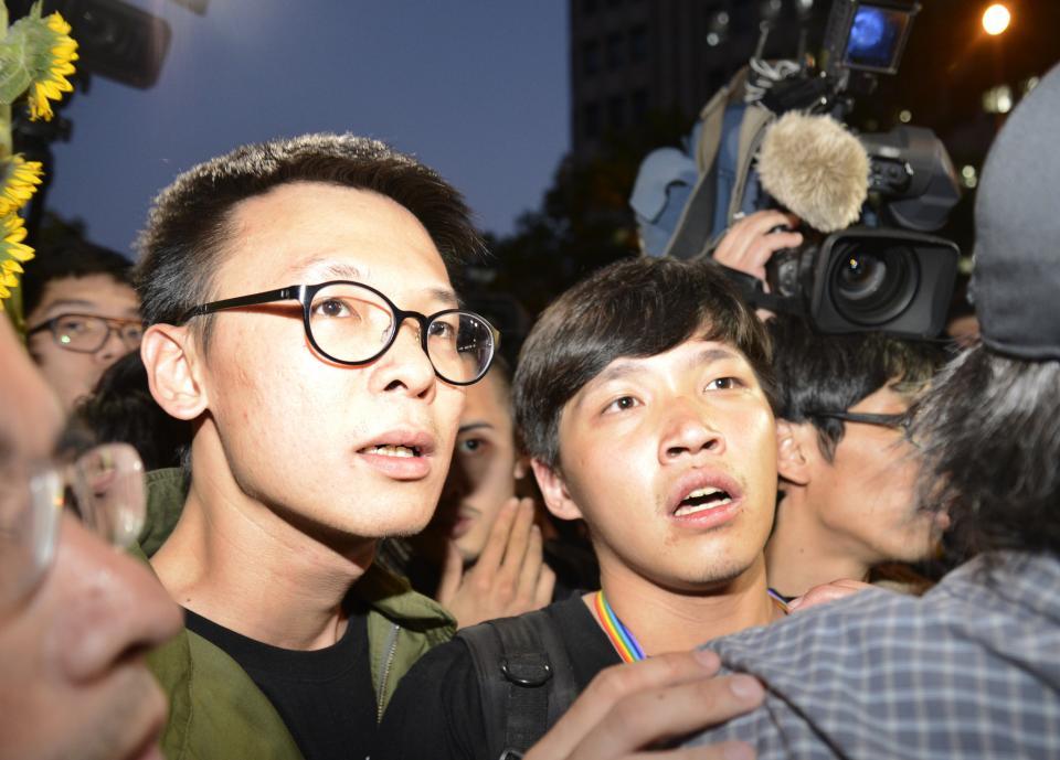 太陽花學運學生代表林飛帆(左)與陳為廷(右)。記者鄭超文/攝影