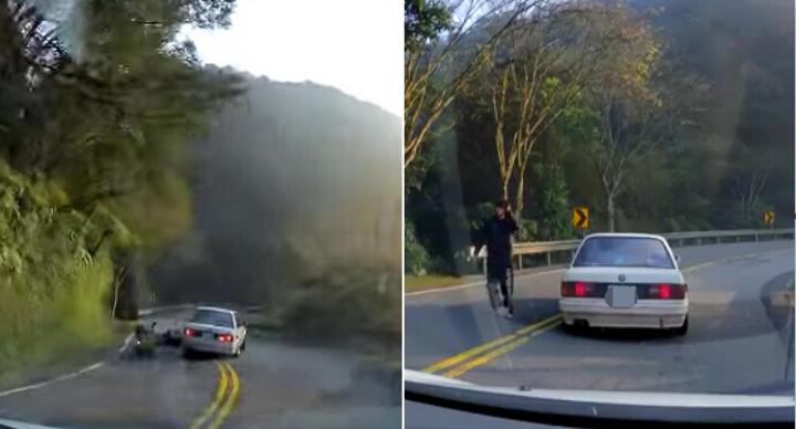 黃男(右)下車後的舉動,讓網友相當氣憤。記者江孟謙/翻攝