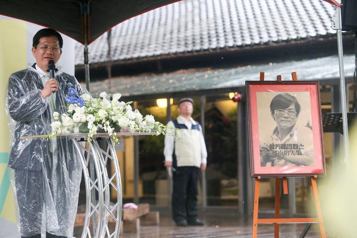 台中市長林佳龍表示,風雨中可以自由說出心中的話,這是鄭南榕與民主前輩累積的成果。記者黃仲裕/攝影