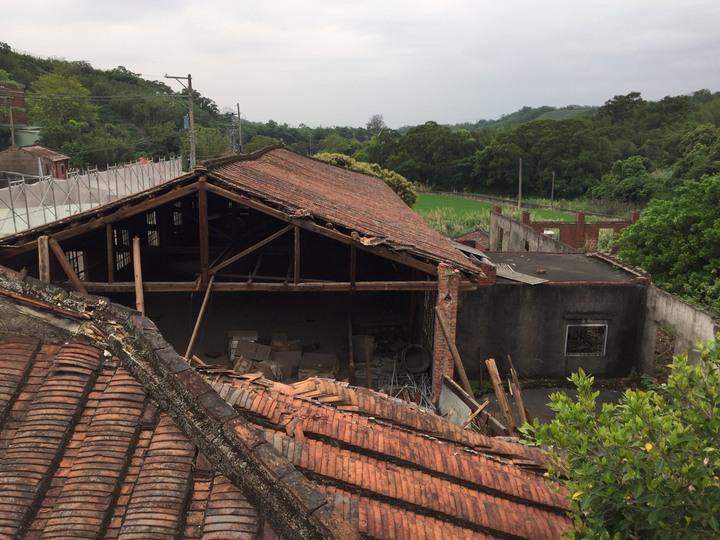 新埔鎮紅磚、木造的百年「大平製茶工廠」,日前因屋頂損毀嚴重,引起地方人士及縣府團隊的重視。記者郭政芬/攝影