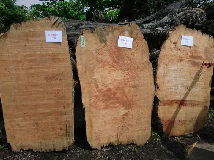 宜蘭檢警林破獲山老鼠集團,起出檜木扁柏等加工品贓物等。記者羅建旺/攝影