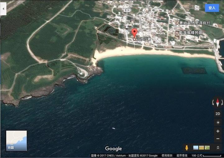 網友自Google Earth上擷取模擬漢光33號實兵操演從進攻方上空觀看的山水沙灘(面北)。圖/翻攝自臉書