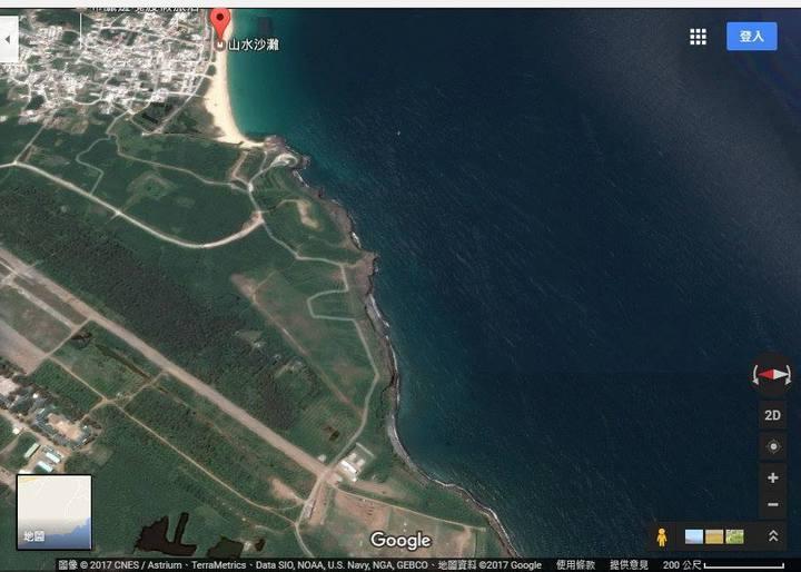 網友自Google Earth上擷取模擬漢光33號實兵操演F-16戰機從山水的西南方飛過去的俯瞰圖。圖/翻攝自臉書