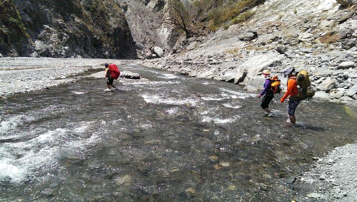 沿途需溯溪穿越數十次河床,帶登山杖才能維持平衡。記者劉學聖/攝影