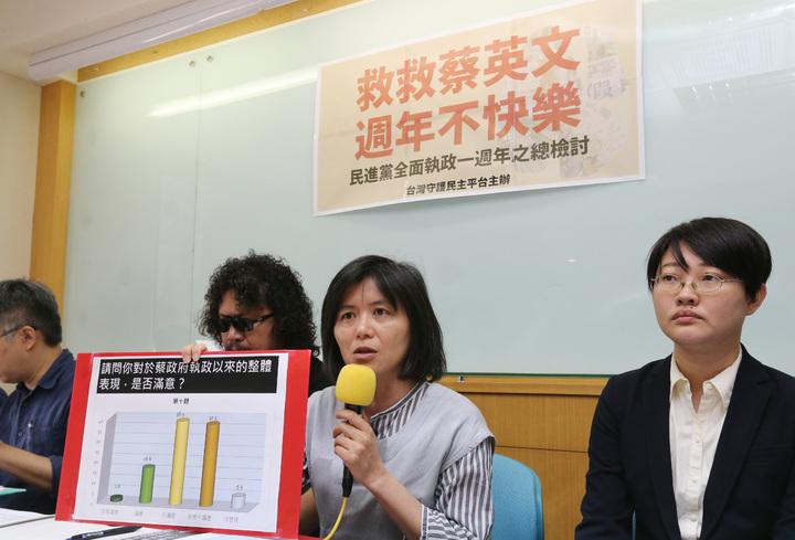 台灣民主平台今天發表「民進黨全面執政一周年之總檢討」民調,結果在政府總體施政表現方面,不滿意達38.9%,非常不滿意達37.5%,民主平台會長陳昭如(右二)表示這是蔡政府的重大警訊。記者胡經周/攝影