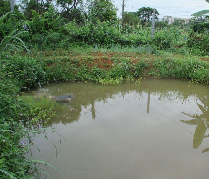 姓越南籍男移工,在宿舍附近埤塘水池溺斃,數天前降雨量大,水池水深約3公尺。記者張弘昌/攝影