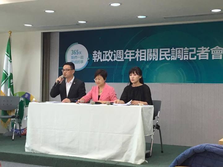 民進黨中央今天舉行執政周年民調記者會,會中也回應陳水扁北上參加餐會。記者周佑政/攝影