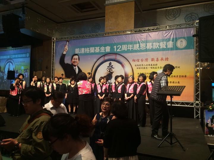 前總統陳水扁今天將出席凱達格蘭基金會舉辦的募款餐會,6樓舞台有巨幅阿扁海報。記者丘采薇/攝影