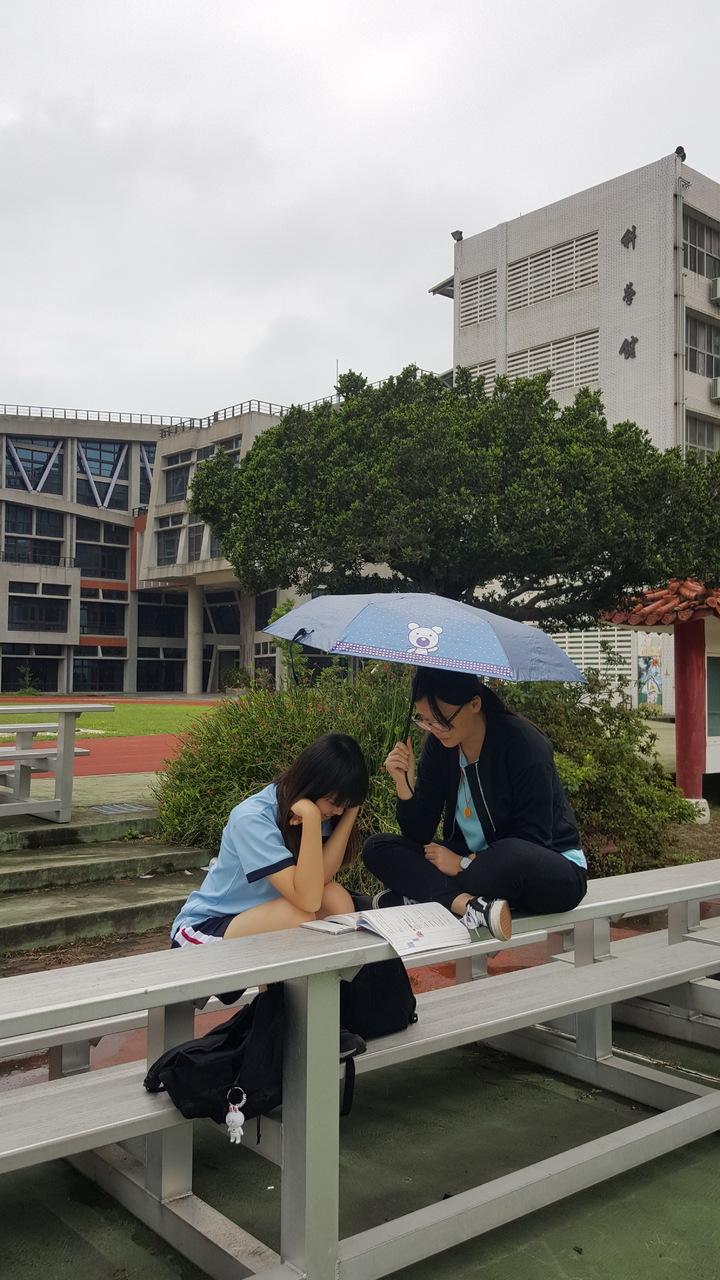 上午苗栗高中考場下起毛毛雨,考生撐傘在雨中溫習。記者胡蓬生/攝影