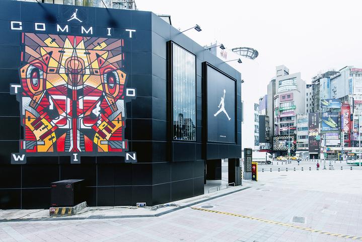 JORDAN 西門町和台灣藝術家BOUNCE合作,打造出塗鴉外牆。   圖/NIKE提供