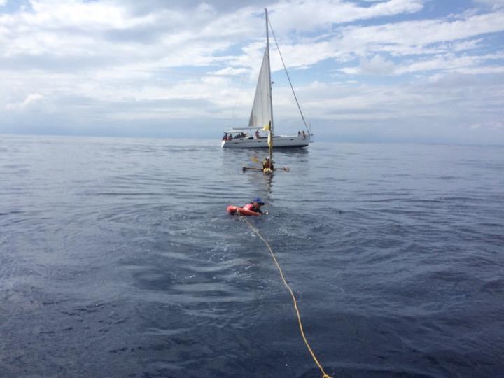 「南風再起計畫」歷經6天的航程今天返抵花蓮港,成功挑戰110公里航程折返。圖/蘇帆基金會提供
