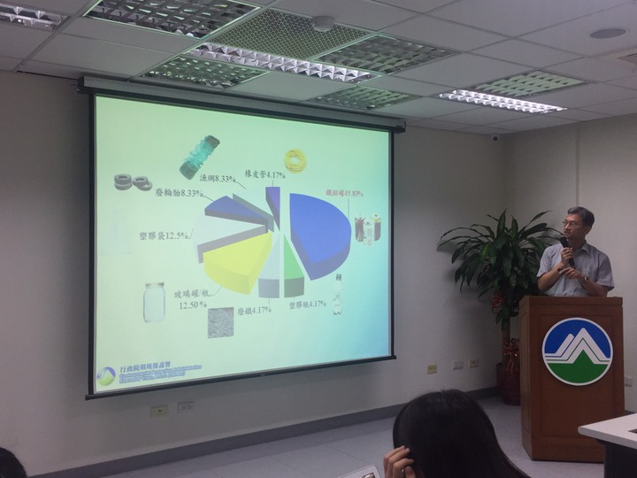 環保署水保處長葉俊宏說明海洋垃圾防治。記者侯俐安/攝影