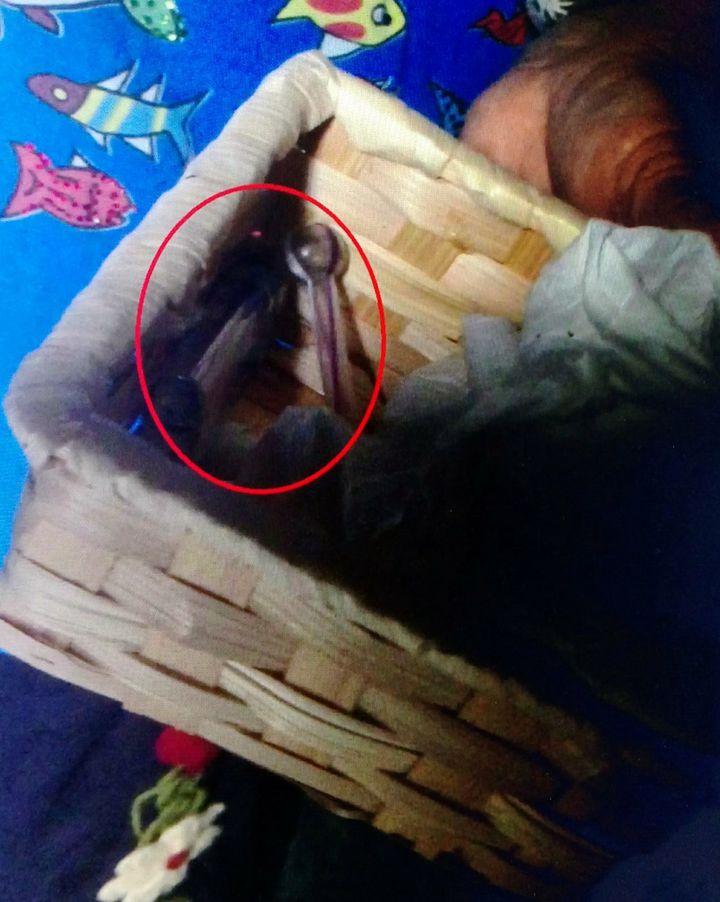 尤母拿出女兒藏放毒品的竹編盒子,裡頭有吸食器及打火機。記者王昭月/翻攝