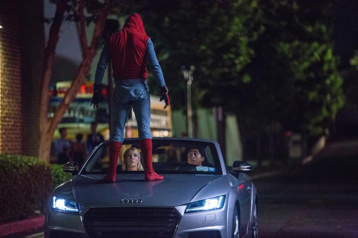 Audi A8無人自動駕駛技術在電影《蜘蛛人:返校日》亮相。圖/台灣奧迪提供