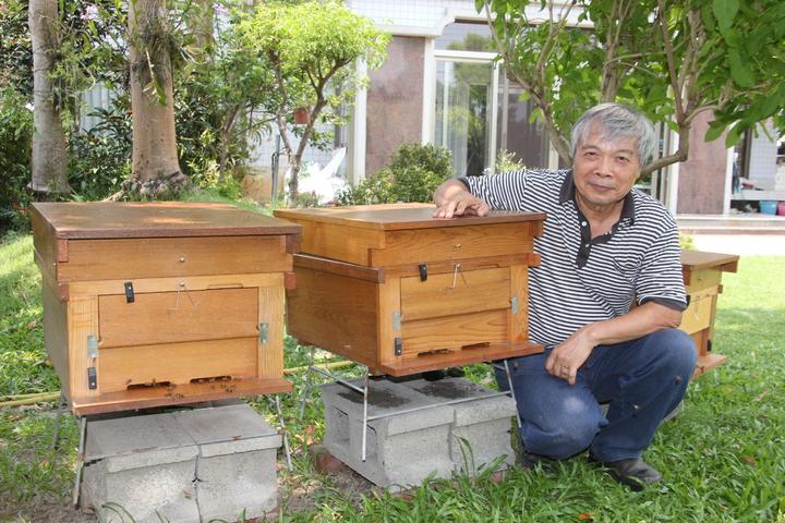 有機農業專家陳世雄一年前因參加一場養蜂研習班,搬了一箱蜂箱回家,原來只是抱著養好玩,沒想到蜜蜂迅速增加,已增加到12箱,他說,也許是因為他家是完全不噴農藥的有機農場,所以蜜蜂住的很安心吧。記者林宛諭/攝影