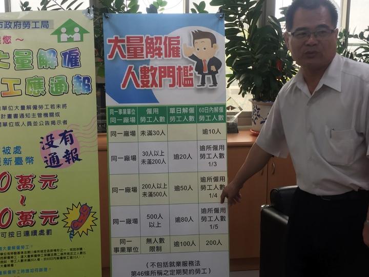 台南市政府勞工局長王鑫基呼籲有大量解僱應通報勞工局。記者吳政修/攝影