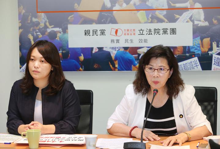 親民黨立委陳怡潔(左)與陳秀霞(右)今早舉行記者會,,批評前瞻計畫預算,認為民進黨只是想便宜行事。記者陳柏亨/攝影