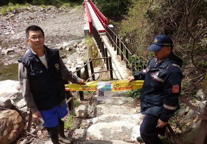 警方在馬達拉溪登山口拉起封鎖線。圖/保七第五大隊提供