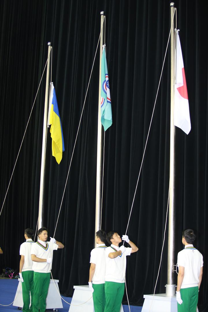 李智凱在世大運為我國奪下鞍馬首金,中華台北會旗升起。記者陳正興/攝影