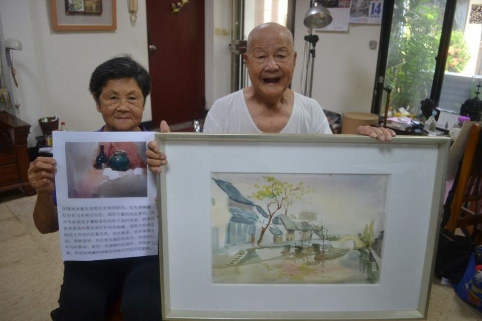 93歲沈健一與82歲妻子沈曾嬌珠活到老學到老,用藝術創作妝點人生。記者鄭惠仁/攝影
