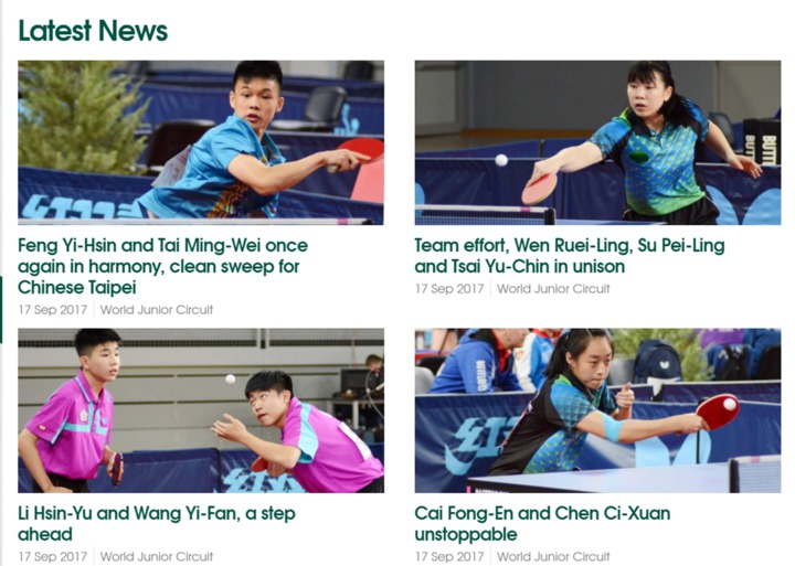 我國桌球小將傳出捷報,在ITTF克羅埃西亞青少年公開賽屢創佳績,拿下18歲、15組男、女團體,全數4面金牌,榮登ITTF官網,讓世界看見台灣。圖/取自ITTF官網