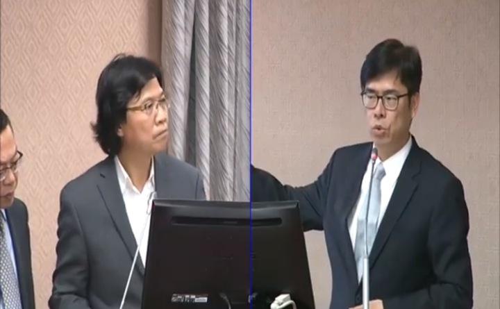 立委陳其邁今天下午針對南方四島爭議,質詢內政部長葉俊榮。圖/翻攝