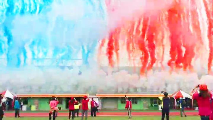 台南市第七屆全市聯合運動大會上周六在永華田徑場盛大開幕,現場施放華麗的特效煙火,造成多名民眾遭煙火砸傷。圖/台南市議員林美燕提供