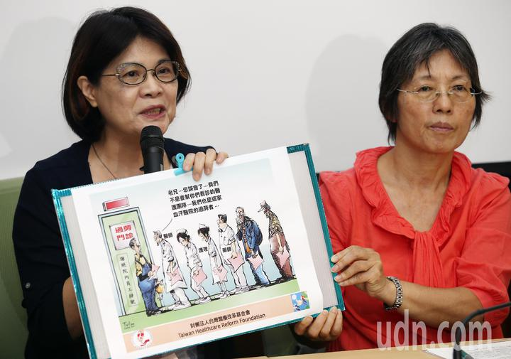 台灣醫療改革基金會董事長蔡淑瓊(左)拿出一張示意圖表示,行政院若不撤回惡法,將來過勞看診的不是病人,而是醫師、護理師和藥師等醫療人員。記者杜建重/攝影