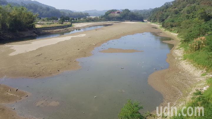 明湖蘇堤旁水域已乾涸見底。記者黃瑞典/攝影