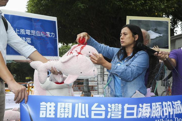 台灣蠻野心足生態協會等環保團體上午到凱道舉行記者會,呼籲政府與風力發電開發單位,立刻進行台灣白海豚保育措施。記者楊萬雲/攝影