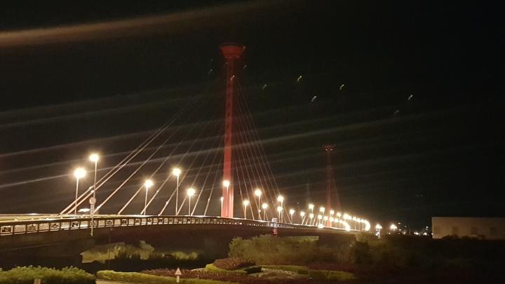 苗栗市新東大橋亮化設施8月故障至今仍未修復,地標黯然失色。記者黃瑞典/攝影