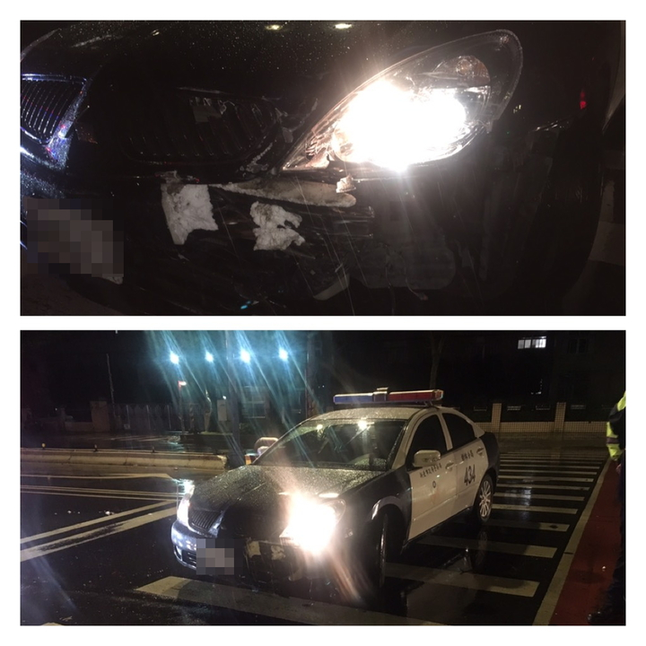 警方發現一輛白色可疑車輛,示警要求停車,豈料轎車加速駛離,雙方追逐至土城區青雲路、金城路口發生擦撞。記者陳雕文/翻攝