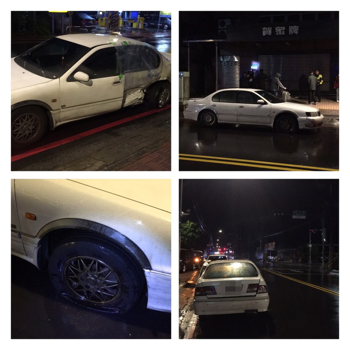 爆胎的轎車搖搖晃晃開到青雲路、青仁路口停駛。記者陳雕文/翻攝