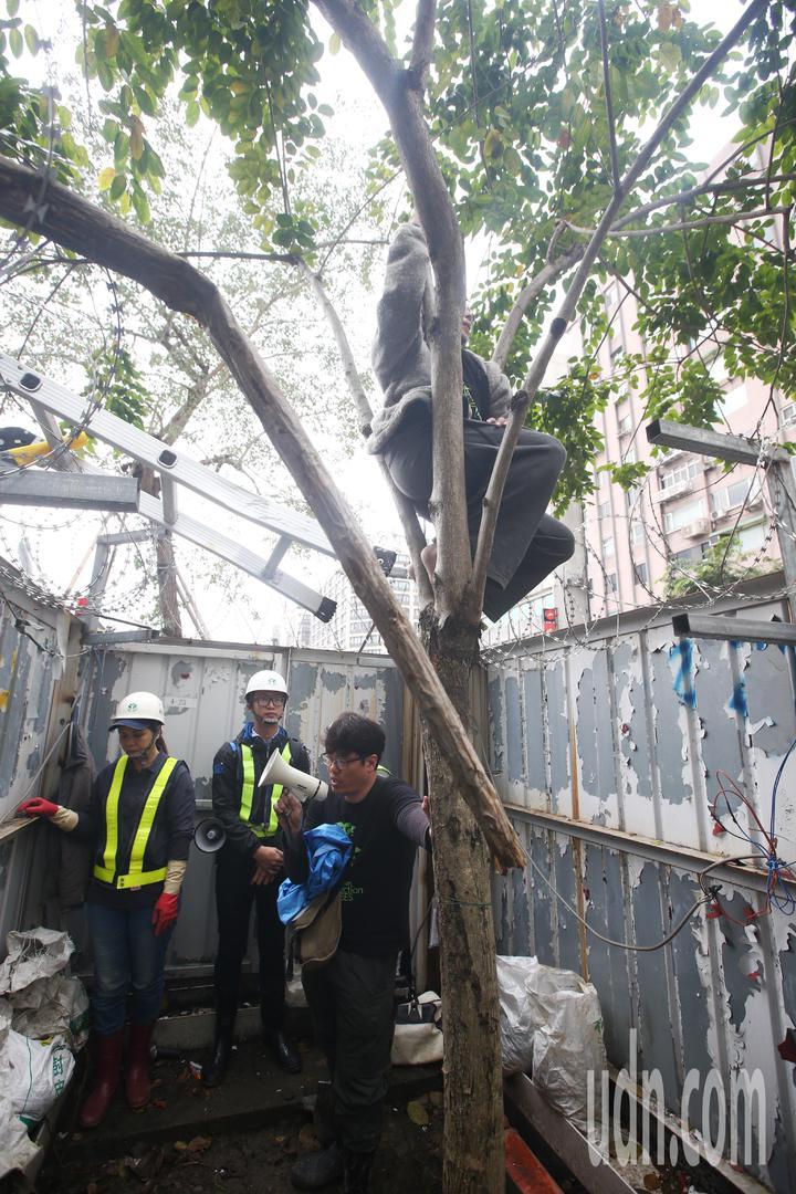 護樹團體與工人僵持不下。記者程宜華/攝影