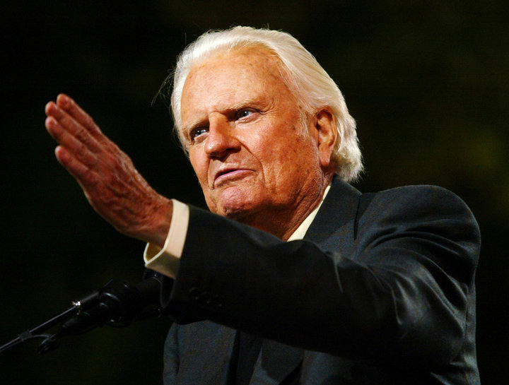 堪稱20世紀最具影響力牧師之一的葛培理21日在北卡州的家中安息,享壽99歲。圖為2005年他在紐約舉辦的最後一場佈道會。路透