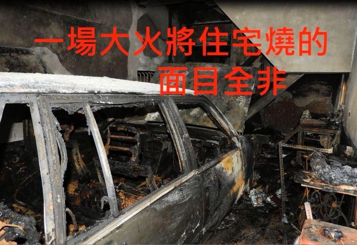 陳家住宅的起火點位在1樓車庫,恰巧堵住通往2樓的唯一通道。記者徐白櫻/翻攝