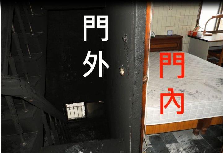 關上房門後,大火阻絕在門外,臥室未受波及。記者徐白櫻/翻攝