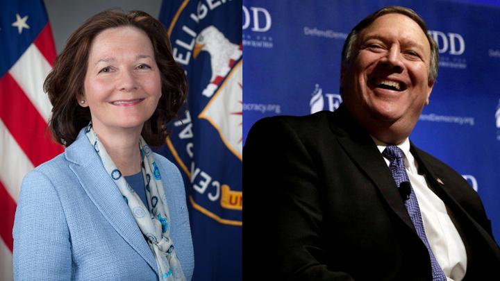 美國總統川普13日宣布,國務卿將由中情局局長龐培歐(右)接任,而原副局長吉娜.哈斯柏(左),將晉升為中情局首位女局長。美聯/路透