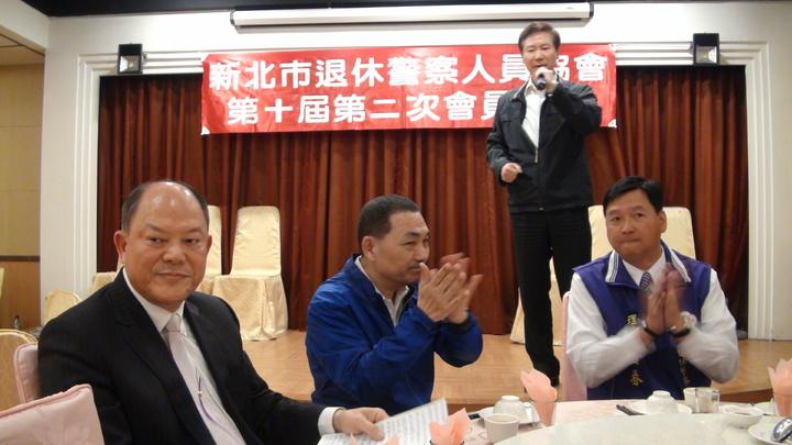 中華民國退警總會理事長耿繼文也上台呼籲退休警察團結全力支持,讓侯友宜順利當選新北市長。記者王長鼎/攝影